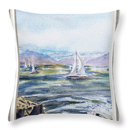 Ocean Throw Pillow featuring the painting A Bay View Window Rough Waves by Irina Sztukowski