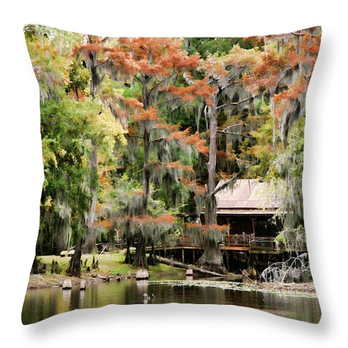 karnack Texas Throw Pillow featuring the photograph A Bayou Retreat by Lana Trussell