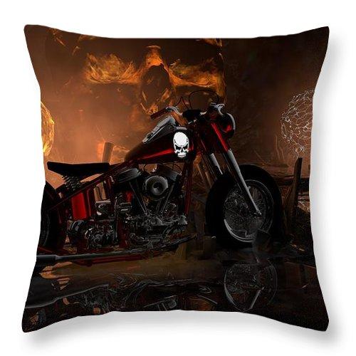 Hd Panhead Throw Pillow featuring the digital art A Bike Is Born by Louis Ferreira