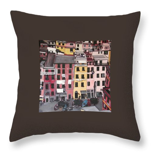 Vernazza Throw Pillow featuring the painting A Bird's Eye View Of Cinque Terre by Quin Sweetman