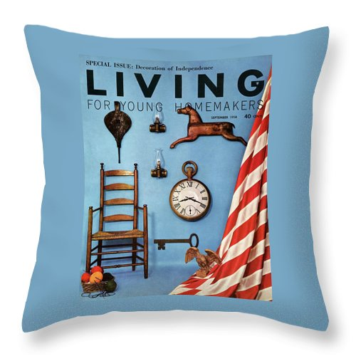 Antique Throw Pillow featuring the digital art A Blue Wall With Decorations by Bill Margerin