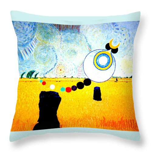 Landscape Throw Pillow featuring the painting A Blustry Day In Wheatshire by MERLIN Vernon
