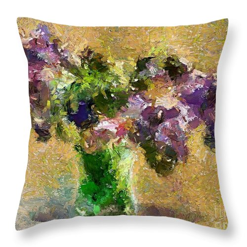 Stilllife Throw Pillow featuring the painting A Bouquet Of Lilac by Dragica Micki Fortuna