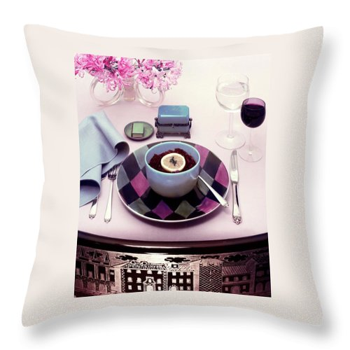 Studio Shot Throw Pillow featuring the photograph A Bowl Of Food On A Pink Table by Haanel Cassidy