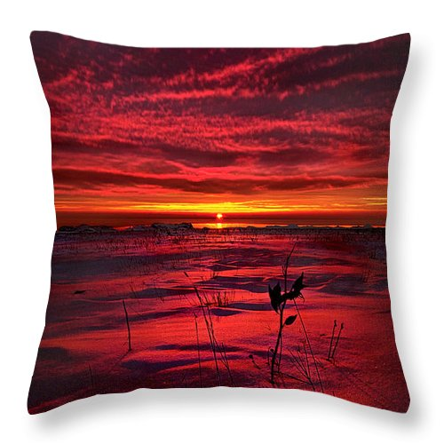 Red Throw Pillow featuring the photograph A Breathless Kiss by Phil Koch