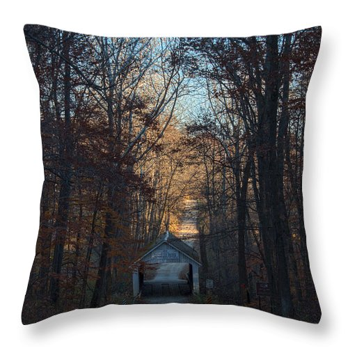 Parke County Indiana Photographs Throw Pillow featuring the photograph A Bridge Tucked Away by Thomas Sellberg