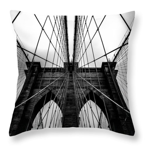 Brooklyn Bridge Arches Throw Pillow featuring the photograph A Brooklyn Perspective by Az Jackson