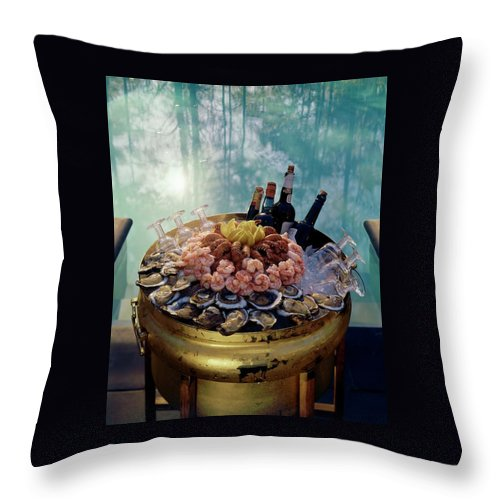 Nobody Throw Pillow featuring the photograph A Bucket Of Shrimp by Ernst Beadle