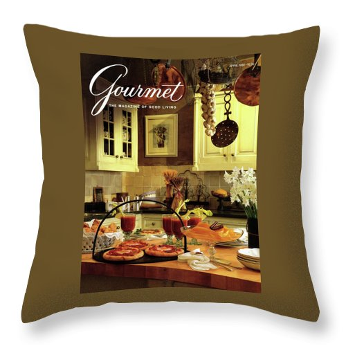Entertainment Throw Pillow featuring the photograph A Buffet Brunch Party by Romulo Yanes