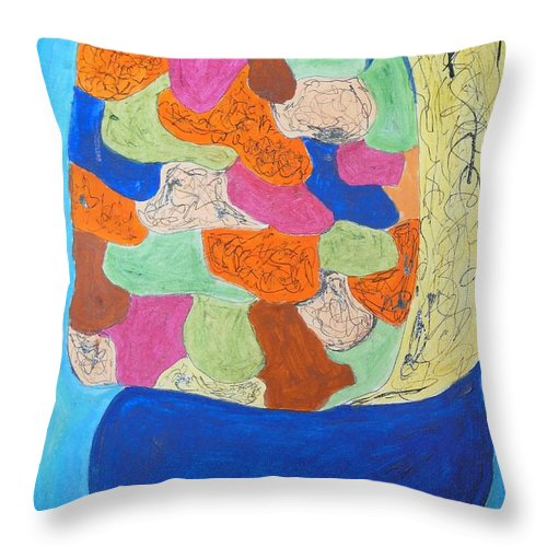 A Bumbry Bush Throw Pillow featuring the painting A Bumbry Bush by Esther Newman-Cohen