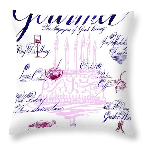 Illustration Throw Pillow featuring the photograph A Calligraphy Illustration Celebrating Sixty by Elvis Swift