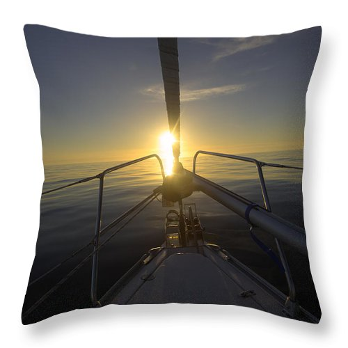 Sailboat Throw Pillow featuring the photograph A Calm Day On The North Sea by Sindre Ellingsen