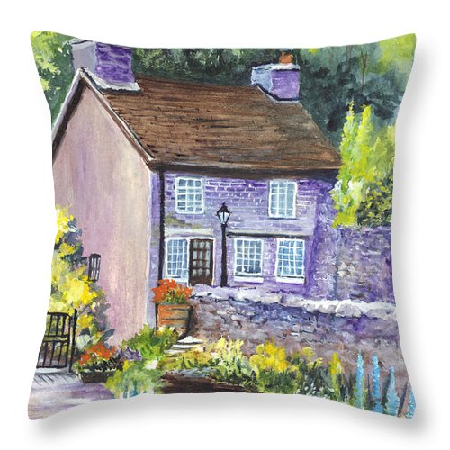 Watercolor Throw Pillow featuring the painting A Castleton Cottage In Uk by Carol Wisniewski