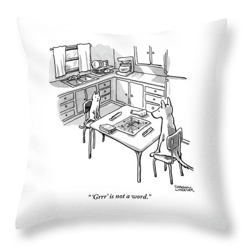 A Cat And Dog Play Scrabble In A Kitchen. 'grrr' Throw Pillow