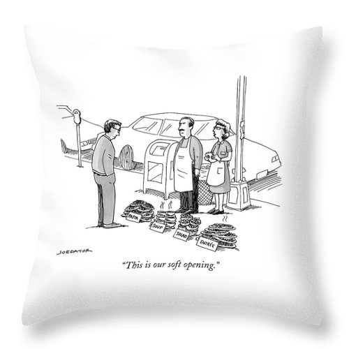 This Is Our Soft Opening. Throw Pillow featuring the drawing This Is Our Soft Opening by Joe Dator