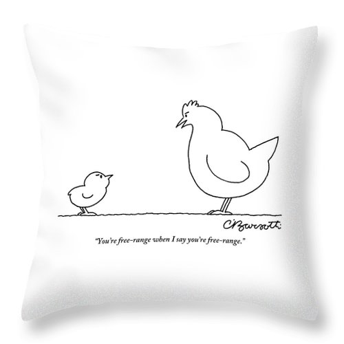 Free-range Throw Pillow featuring the drawing A Chicken Tells Her Baby Chick by Charles Barsotti
