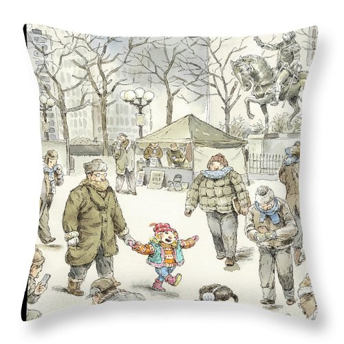 Child Throw Pillow featuring the painting Winter Delight by John Cuneo