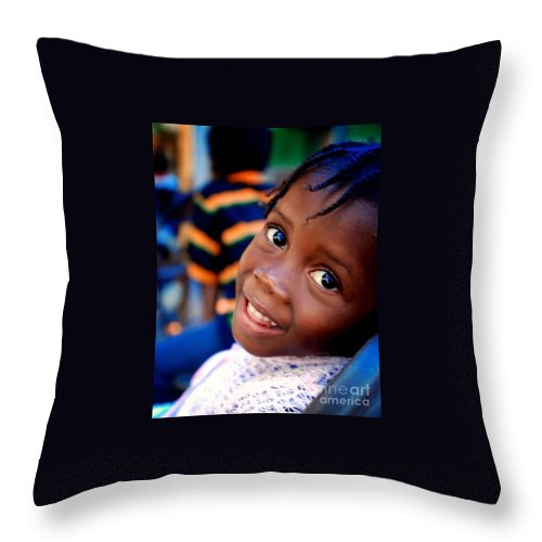 Haiti - Little Girl At The Orphanage Throw Pillow featuring the photograph A Child's Smile Is One Of Life's Greatest Blessings by Steven Baier