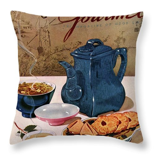Food Throw Pillow featuring the photograph A Chinese Tea Pot With Tea And Cookies by Henry Stahlhut