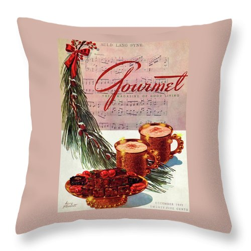 Illustration Throw Pillow featuring the painting A Christmas Gourmet Cover by Henry Stahlhut