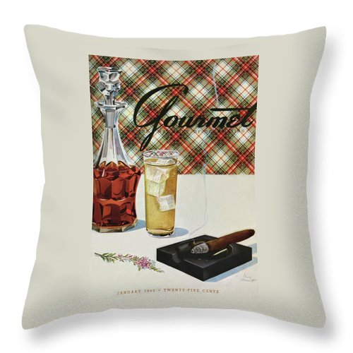 Illustration Throw Pillow featuring the photograph A Cigar In An Ashtray Beside A Drink And Decanter by Henry Stahlhut