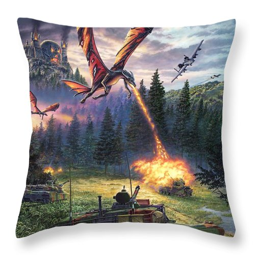 Dragon Throw Pillow featuring the painting A Clash Of Worlds by Stu Shepherd