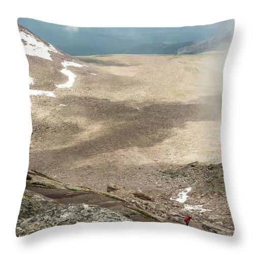 30-39 Years Throw Pillow featuring the photograph A Climber Descending Longs Peak by Kennan Harvey