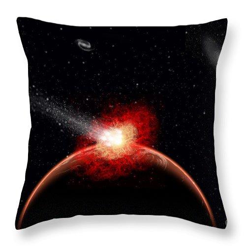 Horizontal Throw Pillow featuring the digital art A Comet Hitting An Alien Planet by Mark Stevenson