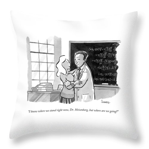Uncertainty Principle Throw Pillow featuring the drawing A Concerned Woman Embraces Dr. Heisenberg by Benjamin Schwartz
