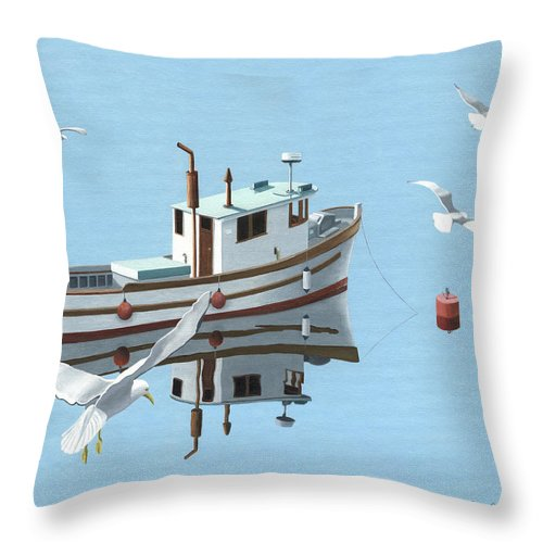 Boat Throw Pillow featuring the painting A Contemplation Of Seagulls by Gary Giacomelli