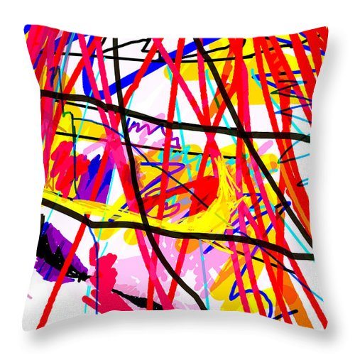 Abstract Art Throw Pillow featuring the digital art A Conversation by Paul Sutcliffe