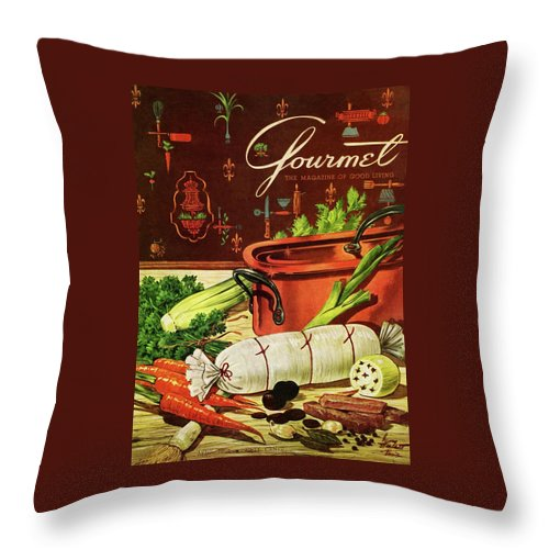 Food Throw Pillow featuring the photograph A Copper Pot And Ingredients Of Ballontine De by Henry Stahlhut