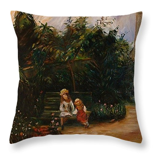 Classic Art Throw Pillow featuring the painting A Corner Of The Garden At The Hermitage by Silvana Abel