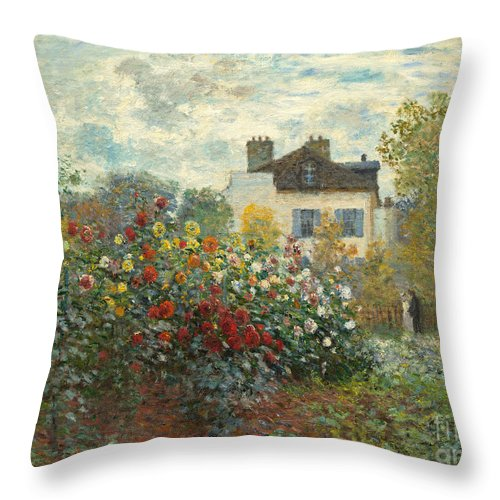 French Throw Pillow featuring the painting A Corner of the Garden with Dahlias by Claude Monet