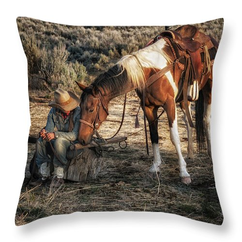 Sombrero Ranch Throw Pillow featuring the photograph A Cowgirls Best Friend by Pamela Steege