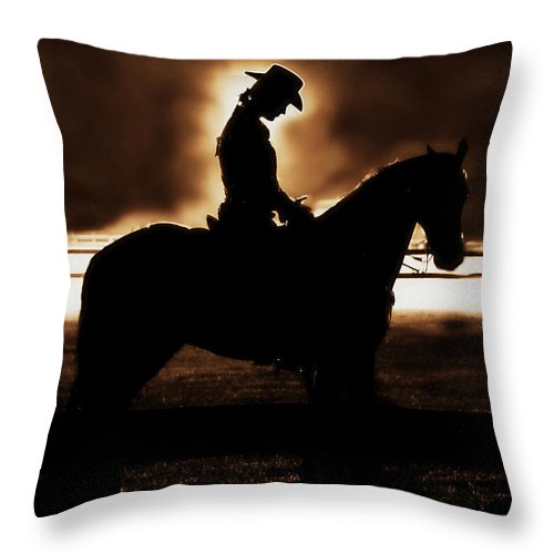 A Cowgirls Prayer Throw Pillow featuring the photograph A Cowgirls Prayer Evening Ride by Chastity Hoff