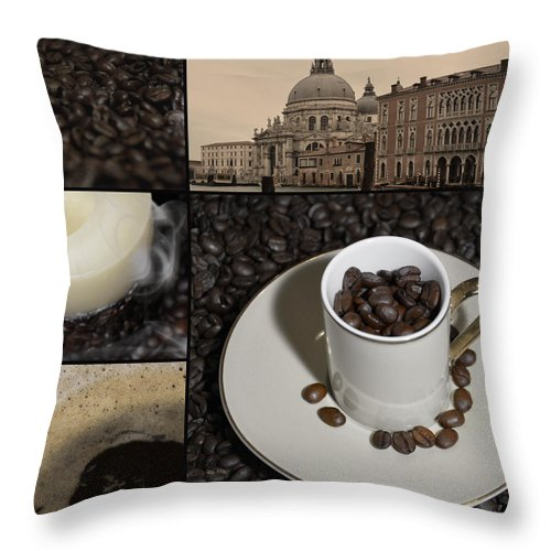 Cup Throw Pillow featuring the painting A Cup Of Coffee In Venice - Canal Grande - Elena Yakubovich by Elena Yakubovich