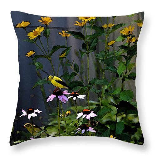 Yellow Finch Throw Pillow featuring the photograph A Cute Couple Of Yellow Finches by Christine Dekkers