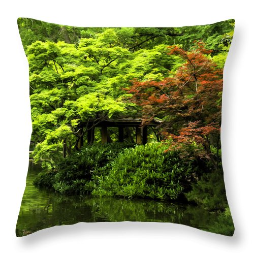 Japanese Garden Throw Pillow featuring the photograph A Dab Of Color by Janet Fikar