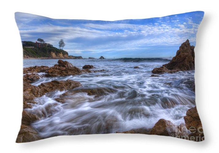 Day Throw Pillow featuring the photograph Low Tide In Corona Del Mar by Eddie Yerkish