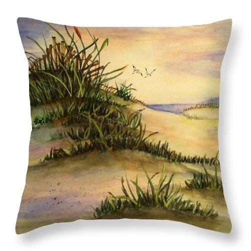 Throw Pillow featuring the painting A Day At The Beach by Hae Kim