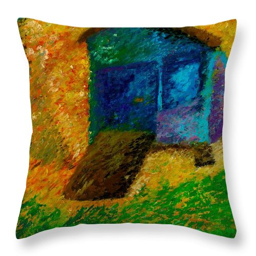 Beach Landscape Throw Pillow featuring the pastel A Day At The Beach by Jon Kittleson