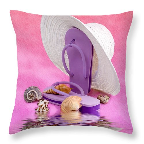 Hat Throw Pillow featuring the photograph A Day At The Beach Still Life by Tom Mc Nemar