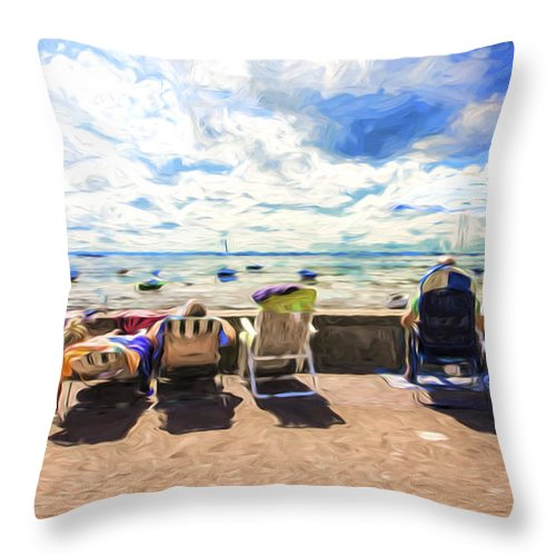 Seaside Throw Pillow featuring the photograph A day at the seafront by Sheila Smart Fine Art Photography
