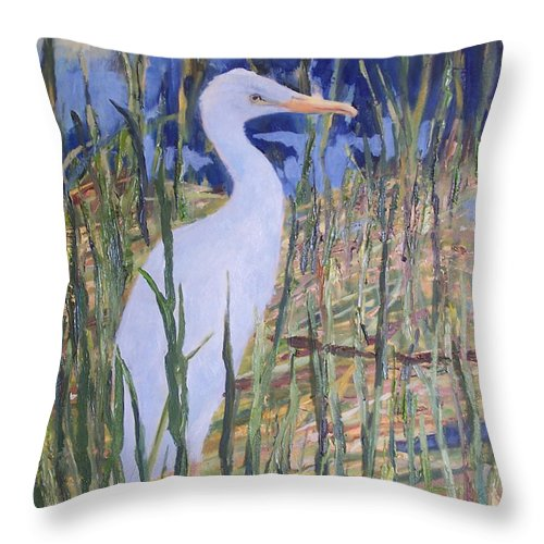 Egret Throw Pillow featuring the painting A Day In Delray by Alicia Drakiotes