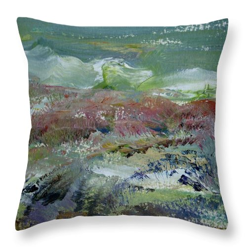 Mountain Throw Pillow featuring the painting A Day Of Snow by Edward Wolverton