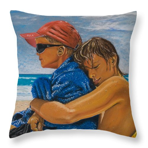 Beach Throw Pillow featuring the pastel A Day On The Beach by Katharina Filus