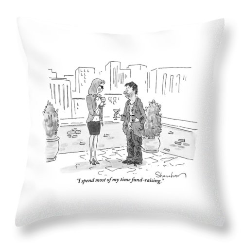 Beggars Throw Pillow featuring the drawing A Dirty-looking Beggar Tries To Pick by Danny Shanahan