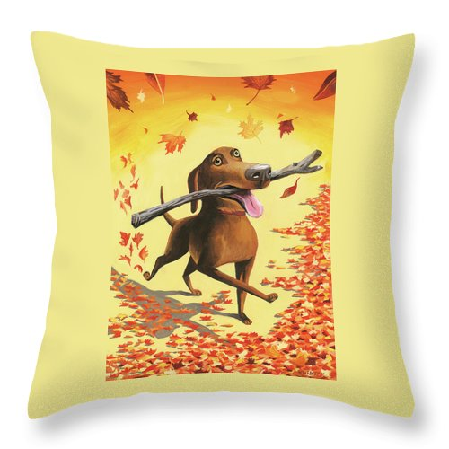 Dog Throw Pillow featuring the digital art A Dog Carries A Stick Through Fall Leaves by Mark Ulriksen