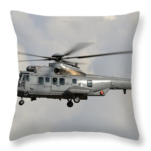 Horizontal Throw Pillow featuring the photograph A Eurocopter As532 Cougar Of The Royal by Remo Guidi